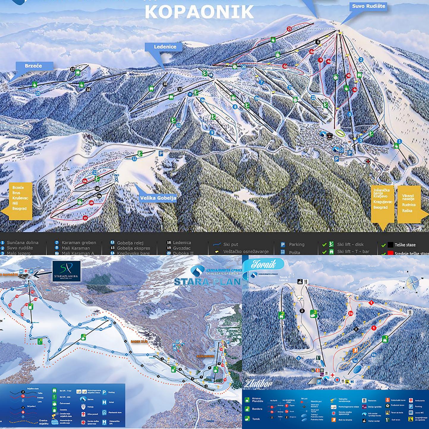 Mape ski centara Kopaonik, Stara planina i Tornik